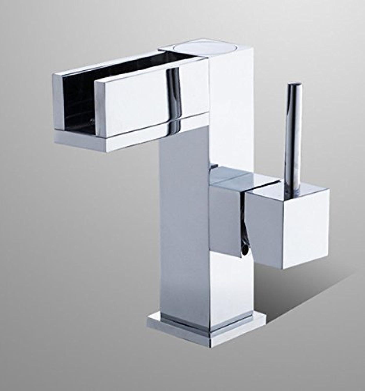 QIMEIM Bad Wasserhahn Waschtischarmatur Messing Einhebelsteuerung, Warmes und Kaltes Wasser Wasserfall Square Einhebelsteuerung Waschbecken Mischbatterie Badarmatur