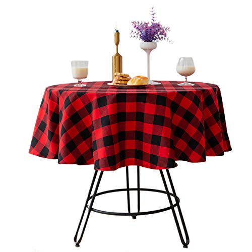 Buffalo - Mantel redondo de lino y algodón, diseño de cuadros para decoración de mesa de Navidad, fiesta de boda (redondo...