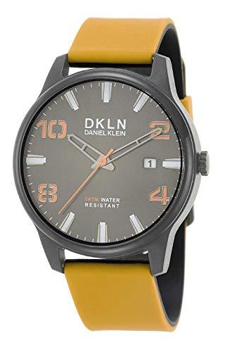 Daniel Klein Herren-Armbanduhr (DK12504) – Silikonarmband – 42 mm analoge Herrenmode Uhren – Japanisches Quarzwerk – zweifarbig – viele Farben modisch 42mm Grau/Senf