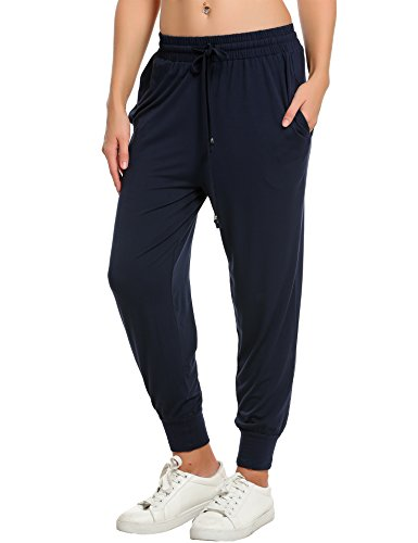 IN'VOLAND Women's Sweatpants Track Pants French Terry Yoga Joggers Lounge Active Pants Navy Blue