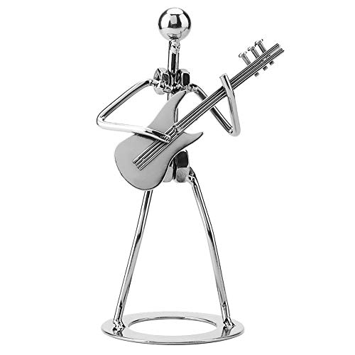 Cikonielf Escultura Creativa Hecha a Mano de músico, Escultura de Guitarrista, Arte de Hierro, música, Figura de niña, Figura de Guitarrista, decoración