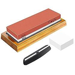 in budget affordable BearMoo Whetstone Premium 2-IN-1 Whetstone 3000/8000 Grit Waterstone Kit – Knife Sharpener…