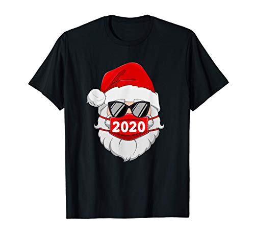 Santa With Face Mask Christmas 2020 Family Pajamas Xmas Gift T-Shirt