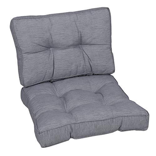 OUTLIV. Polsterauflagen-Set Lounge-Ersatzkissen für Mittelmodul Dessin 803 Grau Meliert Auflagen Loungen 60 x 60 x 50 cm Sitz- und Rückenkissen