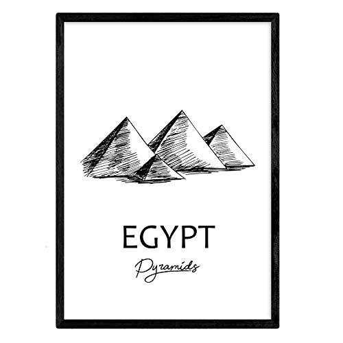 Poster de Egipto - Pirámides. Láminas con monumentos de ciudades. Tamaño A3