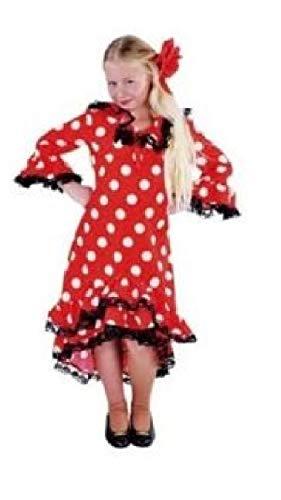 narrenkiste M203016-128 - Vestido de punto para niña (talla 128), color rojo