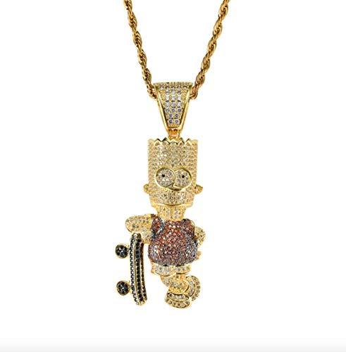 ICEBOX Bart Simpson Skateboard Kette Supreme Halskette Bart Simpson CZ Diamant Gold Kopf Hip Hop Rapper Bling Modeschmuck