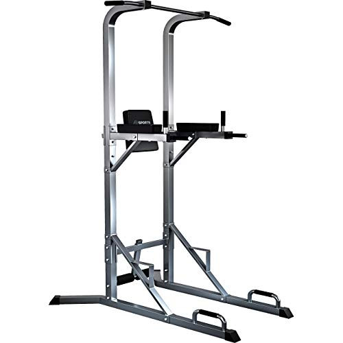 ScSPORTS Gymtower® Kraftturm mit Dip-Station und Klimmzugstange in Grau - Kraftstation ideal für´s Home-Gym