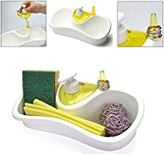 Lukzer 1 PC Sink Organizer Drainer Stand with Sponge Holder and Soap Dispenser Multi Utility Soap Sponge Storage for Bathroom Kitchen Basin (Random Color)