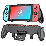 KINOEE Switch Pro Manual Grip, Ergonomic And Comfortable Asymmetrical Grip, With An Upgradeable Adjustable Phone Holder And 5 Nintendo Switch Game Slots (black)