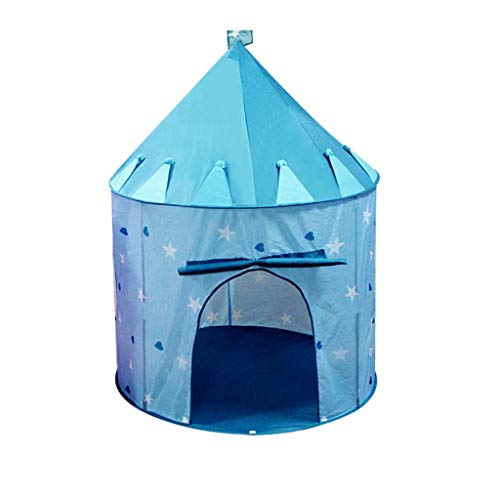 Tents Boys Toy Play, Girls Playhouse Four Seasons Play Teepee Indian Portable Teepee - Kids Game - Playhouse (Color : Blue, Size : 100 * 100 * 135CM)