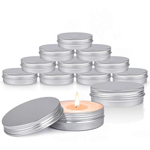Aluminium Blechdosen, Sopito 24 Stück 4 Unzen Runde Metalldosen Schraubdeckelbehälter Leere Kerzendosengläser zur Herstellung und Lagerung von Kerzen