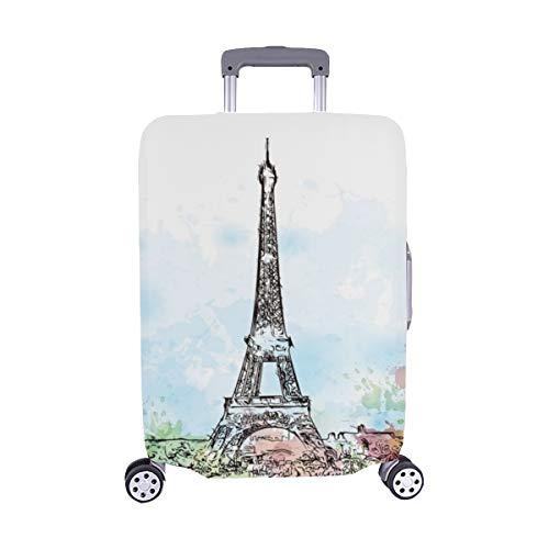 (Solo Cubrir) Sketch Torre Eiffel París Francia Maleta con Ruedas Maleta Protectora para Equipaje de Viaje Cubierta Protectora para Protectora para 28.5 X 20.5 Inch