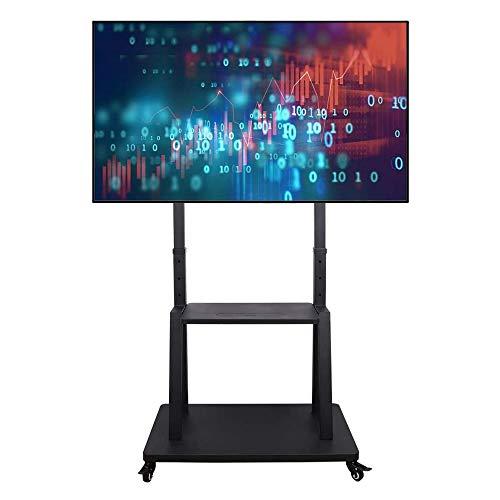 UNHO TV Ständer mit Rollen, TV Standfuss Universal Mobil Wagen, Höhenverstellbar Extra Stabil Fernsehständer Halterung Fernsehtisch mit AV-Ablagen für 32