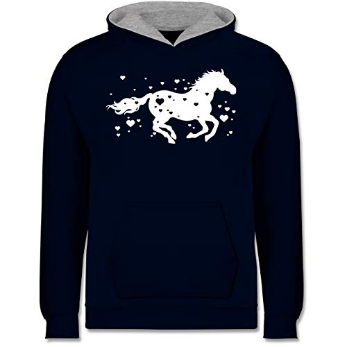 Shirtracer Tiermotive Kind - Pferde mit Herzen - 140 (9/11 Jahre) - Navy Blau/Grau meliert - Hoodie Pferde mit Herzen - JH003K - Kinder Kontrast Hoodie