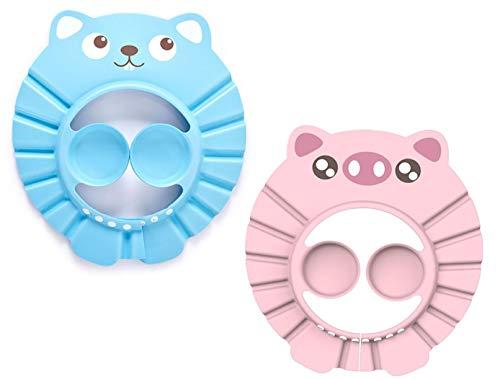 Kitchen-dream gorro de ducha para bebés Gorro de champú Ajustable Impermeable Visera de ducha segura Sombrero suave para niños pequeños, bebés, niños(azul, rosa)