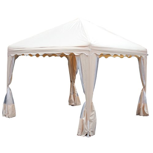 King Canopy GP1010A 10-Feet by 10-Feet Garden Party Canopy, Almond with Bug screens