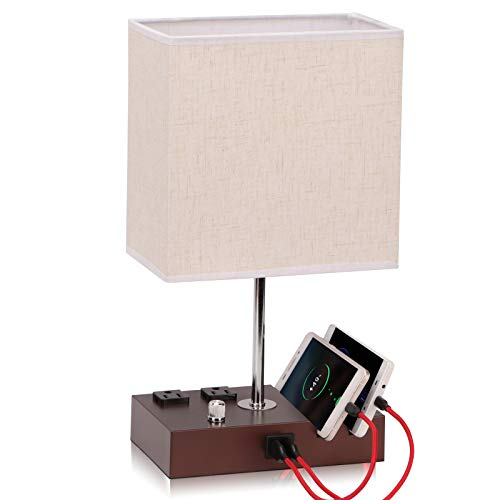 Fully Dimmable Table Lamp for Bedroom Living Room Dual USB Port - EVISTR Bedside Lamp for Nightstand Desk Lamps with Charging Station 2 Power Outlets, Fabric Lampshade LED Bulb Included (Mocha/Beige)