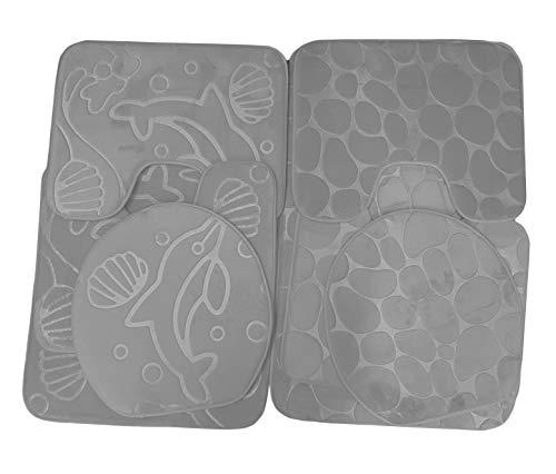 takestop® 4-delig tapijt grijs bad wc-bril anti-slip antislipmat antislipmat antislipmat voor huisdieren/huisdieren.