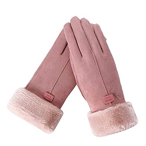 Guantes de Encaje Nuevo invierno mujer encaje cálido cachemira tres costillas lindo oso mitones doble gruesa pulsera muñeca mujer pantalla táctil conducción ( Color : 1 , Gloves Size : One Size )