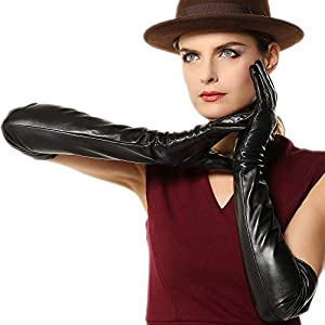 Sale !!! Super Long 22″ Women's Supple Nappa Leather Touchscreen Texting Opera Dressing Gloves