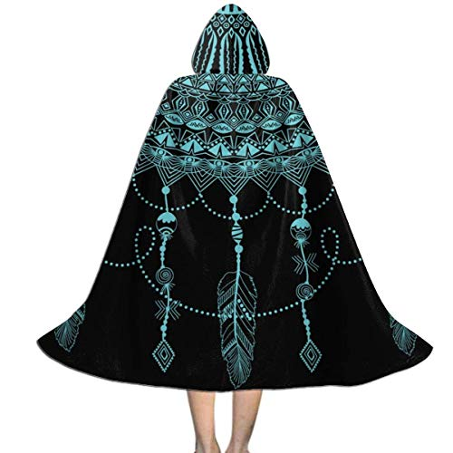 Capa con Capucha Atrapasueos Misterioso Floral Bohemio Mandala Larga Disfraz Cosplay Capa Co Capucha Impresin HD Disfraz De Halloween para Mujer Nios 150X40Cm