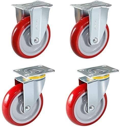 4PCS Heavy Duty 70mm Swivel Stam Casters Red Pu Castor för Möbler Kontorsstol Arbetsbänk Vagnshjul (2 med bromsar, 2 utan bromsar) (Color : 2 Fixed+2 Swivel, Size : 3 in)