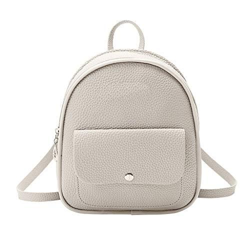 Women Shoulder Bag Satchel Elegant Backpack Vintage Stylish Casual Simple Travel Beach Messenger Bag(Grey)