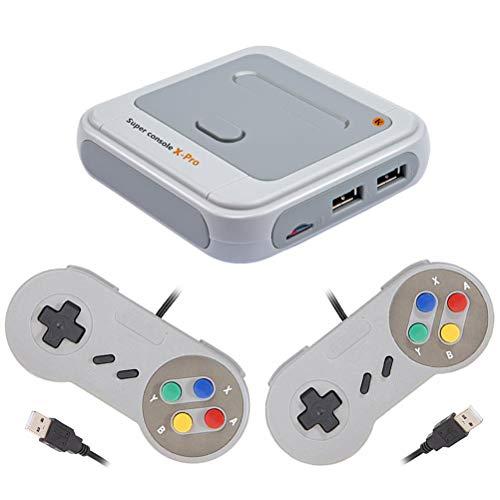 Super Console X Pro Retro Family Classic Mini-Konsole HDMI, S905X WiFi Retro-TV-Spielekonsole + 2-Controller-TV-Ausgang 64-Bit-Handheld-Konsole für Dual-Player 48+ Emulatoren 30000+ Videospiel-Player