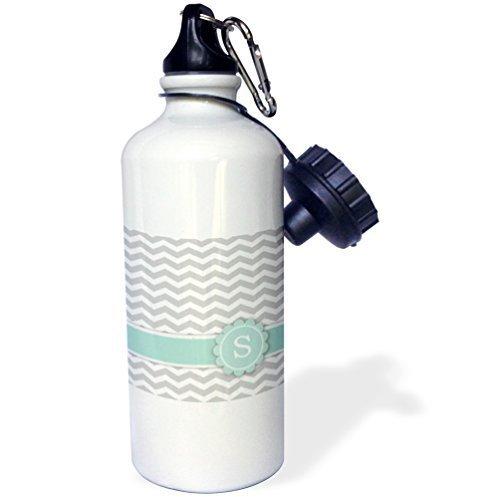 Cukudy Sport Waterfles Gift, Letter S Monogrammed Op Grijs En Wit Chevron Met Muntgrijs Zigzags Persoonlijke Initiële Zig Zags Wit RVS Waterfles voor Vrouwen Mannen 21oz