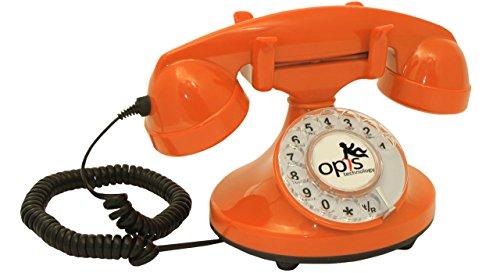 OPIS FunkyFon Cable: Retro Telefon mit Wählscheibe in geschwungenem 1920er Stil mit elektronischer Klingel (orange)
