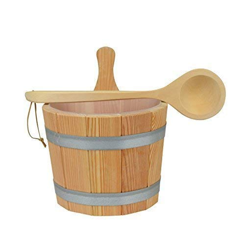 Sauna Set 3-teilig #608 Kübel aus Lärchenholz, Kunststoffeinsatz, Kelle