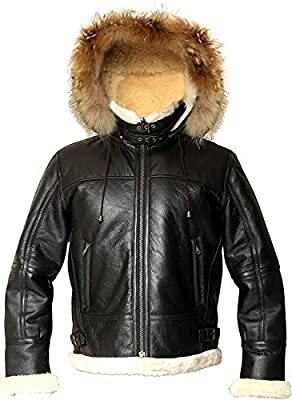 Men's WWII B3 Bomber Hoodie Real Shearling Aviator Black Leather Jacket Removable Raccoon Hood Price Offer (3XL)