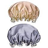 Duschhaube,2er Pack Damen Bad Kappe Doppelschicht Bad-Hut Wiederverwendbar Wasserdichte Elastische Badehüte Groß Duschhauben für Frau Dusche Spa Salon Rosa + Gold