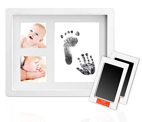 Norjews Baby Handabdruck und Fußabdruck, Baby Holz Bilderrahmen mit 2 x