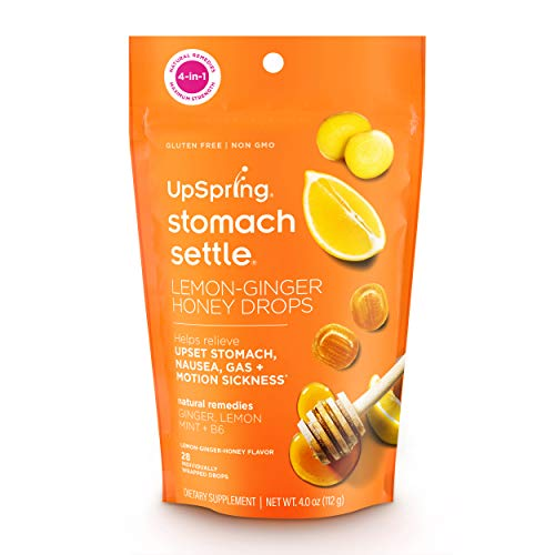 UpSpring Stomach Settle Drops for Nausea, Gas, Bloating, Morning Sickness and Motion Sickness Relief, 28 Count Individually Wrapped Drops for Tummy with Ginger, Lemon, Spearmint, Honey and B6, first trimester care package idea