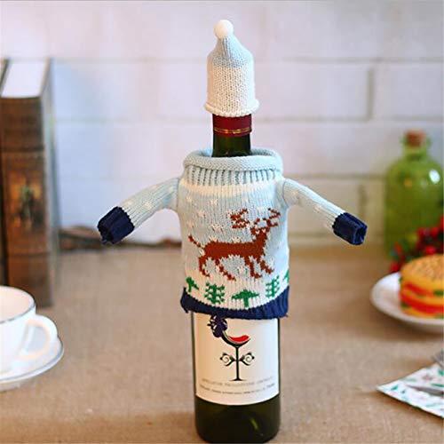 HBWHY Bolsas de botella de vino de Navidad para botellas de vino tinto, decoración de Navidad, decoración de mesa, decoración para el hogar, fiestas, accesorios, estilo 1 #