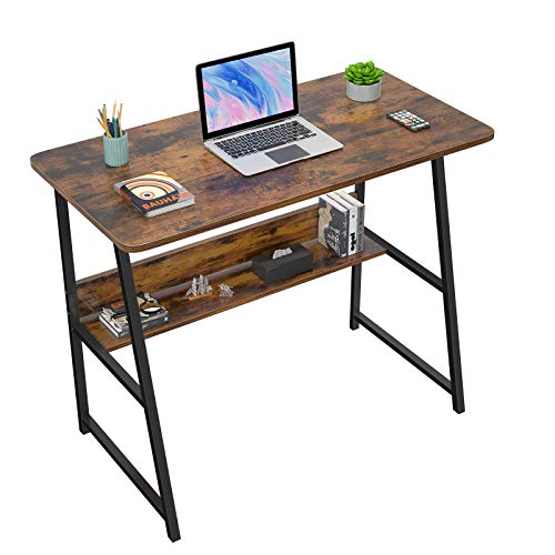 """Computer Desks for Home Office 32"""" Modern Sturdy Writing Desk with Bookshelf Study Table Desk with Metal Legs Industrial Tiny Table for Small Space Rustic Brown/Black"""