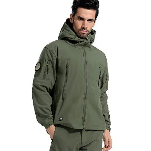 CARWORNIC Men's Outdoor Waterproof Soft Shell Hooded Tactical Jacket Warm Fleece Military Hiking Jacket