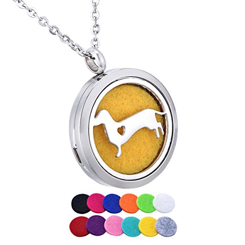 Dachshund Heart Aromatherapy Essential Oil Diffuser Necklace Jewelry Stainless Steel Locket Pendant,12 Refill Pads