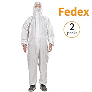 Disposable Protective Coverall Protective Suit Clothes with Elastic Cuffs, Work Clothes, Thicken, White (2 Packs/L)