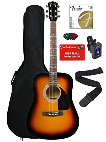 Fender FA-100 Dreadnought Acoustic Guitar - Sunburst Bundle with Gig Bag, Tuner, Strings, Strap, and Picks