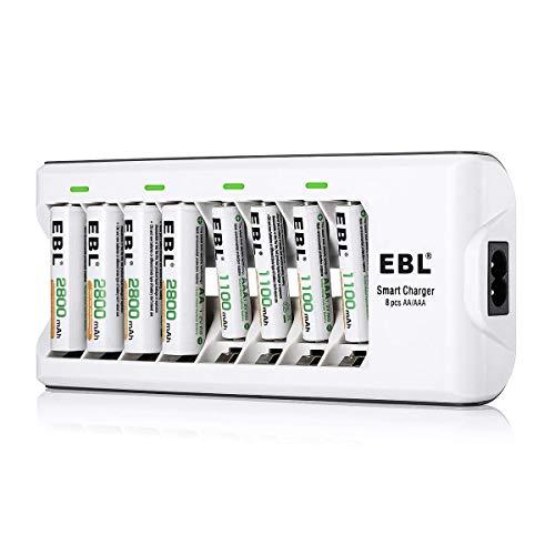 EBL 808 Cargador de pilas con 4 Unidades de AA 2800mAh y 4 unidades AAA 1100mAh Ni-MH Baterías Recargables