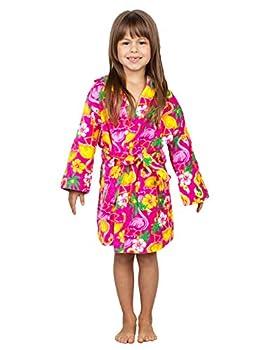 Komar Kids Girls Flamingo Print Cotton Terry Robe Cover Up Kids Size S 5/6  Pink