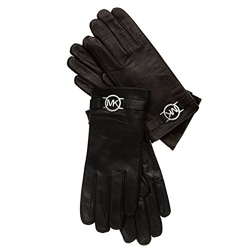 MICHAEL Michael Kors Leather Gloves With Mk Circle Logo And Touch Tips L