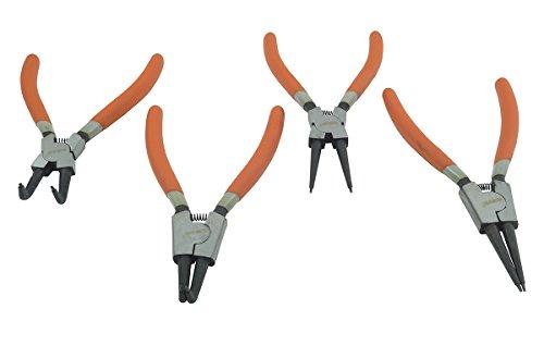 SET 4 PINZE CIRCOLARI ANELLI ELASTICI INTERNI ESTERNI 180mm DRITTE E ANGOLO 90°