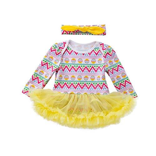 Bebés Trajes Largo de la Manga del Vestido del Traje del Mameluco del tutú con el Hairband Ropa de Pascua Set 66cm 2Pcsclothing