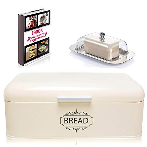 AllGreen Vintage Bread Box Container for Kitchen Decor Stainless Steel Metal Bread Bins Retro Cream for Kitchen Counter Dry Food Storage Including Free Butter Dish and Serving eBook Store Bread Loaf