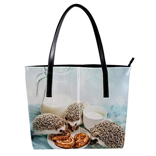 TIZORAX Damen Handtasche Igel Essen Brot PU Leder Mode Handtasche Tragegriff Schultertasche Tragetasche Geldbeutel