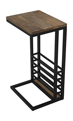 HSM Collection Tafel, mangohout, natuur/zwart, 38 x 30 x 65 cm